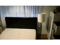black leather double beds with mattress