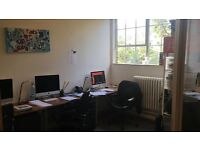 Tailored work offices, shared space, private studios, hot desk, high ceilings, lots of light