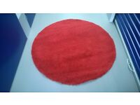 Ikea Adum Circular Rug in Red, High Pile 130cm Diameter