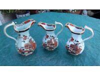 3 no masons ironstone jugs