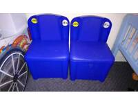 2 blue storage chairs