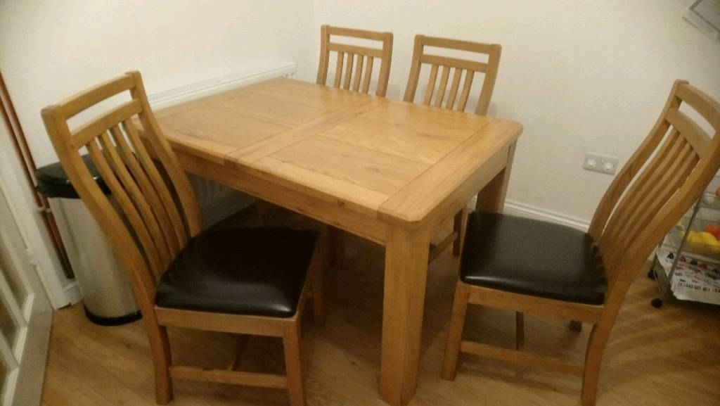 Calais Solid Oak Wood Extending Dining Table And 4 Chairs Plus Sideboard