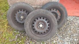 x3 Vauxhall 14 inch Wheels and Tyres + 4 Stud Hubs x2 for Trailer etc