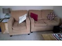 2 seater sofa and matching arm chair, beige - free to a good home!