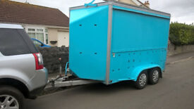 12ft Concession Trailer, full length side hatch, small back door, Electric Sockets, Security camera