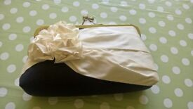 Immaculate navy ivory small silk clutch. Bespoke. £45