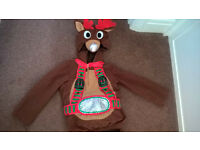Age 7-8 Reindeer dress up costume - top and trousers