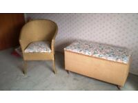 Bedroom Chair and Ottoman in the style of Lloyd Loom