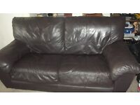 REAL LEATHER SOFA BED DOUBLE BROWN EASY UP METAL SPRUNG FRAME BARGAIN MUST GO OFFERS