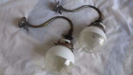 Pair of rare, vintage / antique gas wall lights/lamps/sconces. Totally original. Ready for rewiring.