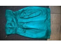 Green satin Dress with matching straps