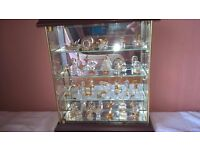 Set of 26 miniature crystals with display cabinet