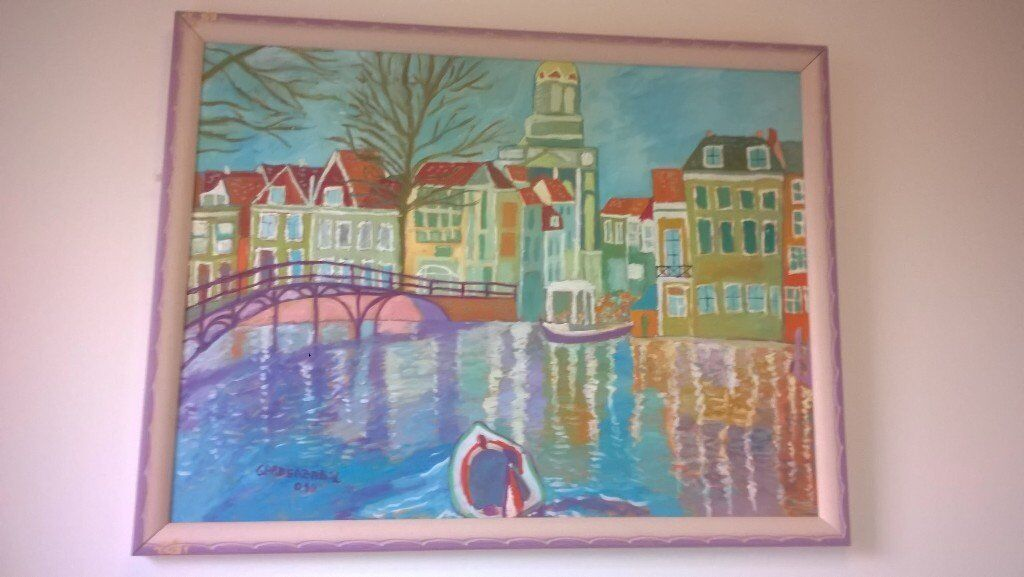Original Oil Painting - Amsterdam Scene