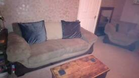 Large sofa and two chairs. Light brown corded suede effect
