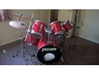 Premier APK Deep Power Shell Rock kit Ferrari Red Pearl Snare c/w Stands Cymbals Double Bass Pedal