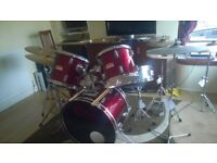 CS Percussion drum kit, 5 piece drum kit, floor - tom toms ect - 5 cymbals, mixure of ZBT and flats