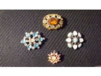 1950's Brooches -Costume jewellery with a bit of bling.