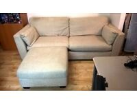 Large Cream Sofa and Stool, In great condition - Can fit 4 people
