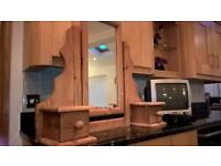 WOODEN TABLE TOP MIRROR AND SMALL TV WITH FREE VIEW BOX.