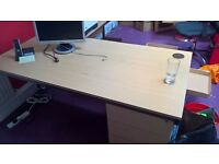 BEECH 1600 CANTILEVER DESK & EXTENSION TABLE & FIXED PEDESTAL HOME-OFFICE