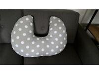 Cuddles Collection Nursing / Breastfeeding Pillow (White spots on grey)