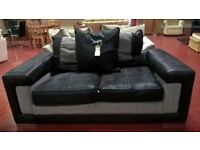 Black and grey leather 2 seater sofa