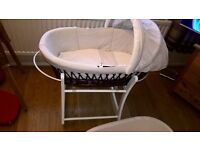 Wicker moses basket, rocking stand and baby bath
