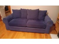 Navy blue suite (3-seater sofa and 2 armchairs)