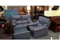 blue leather sofa suite for 85 pounds comes with leather coffee table