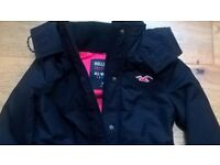 Hollister all-weather jacket. Women's navy, size XS, with hood.