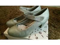 Silver glitter ladies shoes size 7 eu40 wedding bridesmaid party