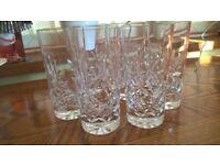 Set of six half pint crystal glasses