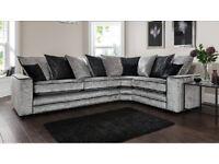 Brand new Riva silver crushed velvet corner sofa**Free delivery**