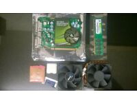 job lot nvidia 7600 gt 256mb ddr3 graphics card - e5400 2.7 core2 cpu - 1gb corsair ram 2x 80mm fans
