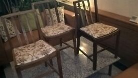 3 FREE OAK DINING CHAIRS Refurbished & re-upholstered in matching fabric. URGENT! MUST GO SOON!