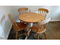 Solid pine round pedestal dining table + 6 farmhouse dining chairs