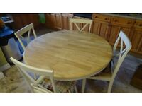 Round Pine Table and Chairs