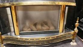Free Gas fireplace with a base