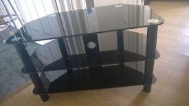 Black Glass TV Unit Stand Ex Con