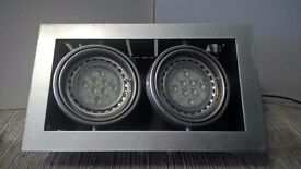 Twin LED multi-directional flush to ceiling AR111 fitting in satin silver finish (60 available!)
