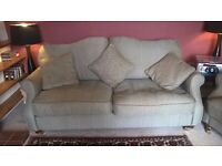 DFS herringbone fabric sofas (2seater + 3 seater) with reversible scatter cushions .