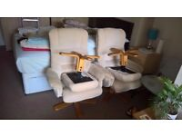 2 Reclining Fabric armchairs with Footstools
