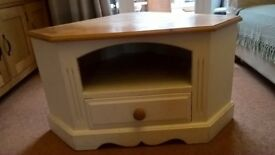 Solid Pine Painted and Waxed Corner TV Unit