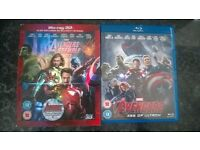 AVENGERS 1 IN 3D AND BLURAY AND AVENGERS 2 AGE OF ULTRON IN BLURAY MINT COND