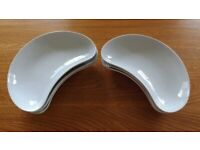 6 White Ceramic Crescent Shaped Side Plates