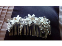 lovely, silver, pearl hairclip