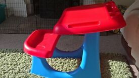 childs desk with seat attached