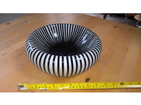 Black and white striped glass bowl