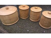 biscuit, tea, coffee and sugar wood pots