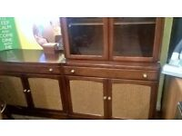 solid oak & weave display cabinet & sideboard furniture set needs tlc delivery avalible